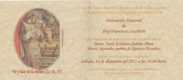 ORDENACIÓN DIACONAL DE FRAY FRANCESCO LUCHETTI